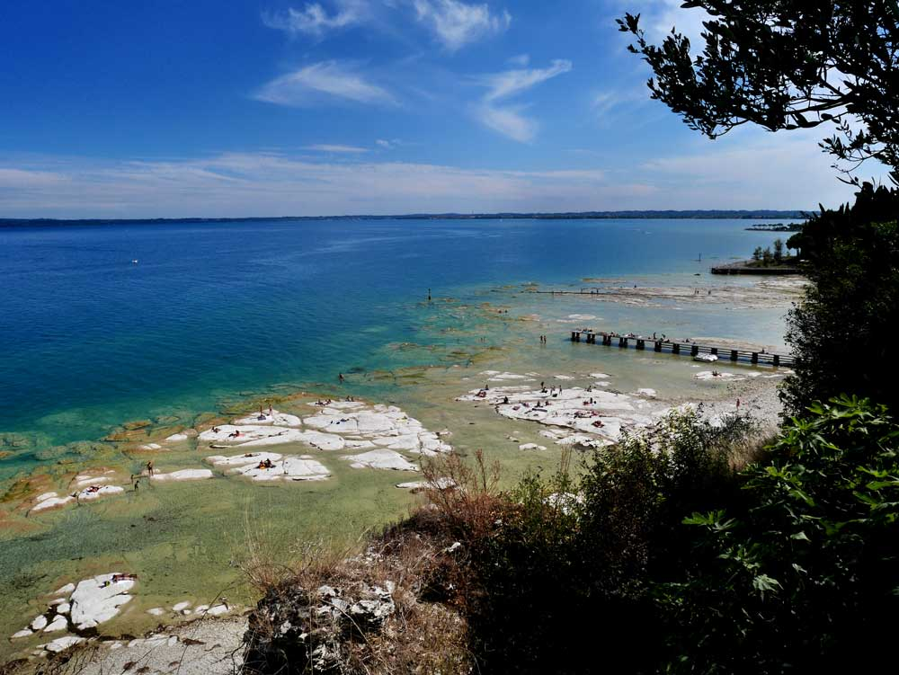 The beach viewed from the Grotto of Catullus, Sirmione, Italy | Laugh Travel Eat