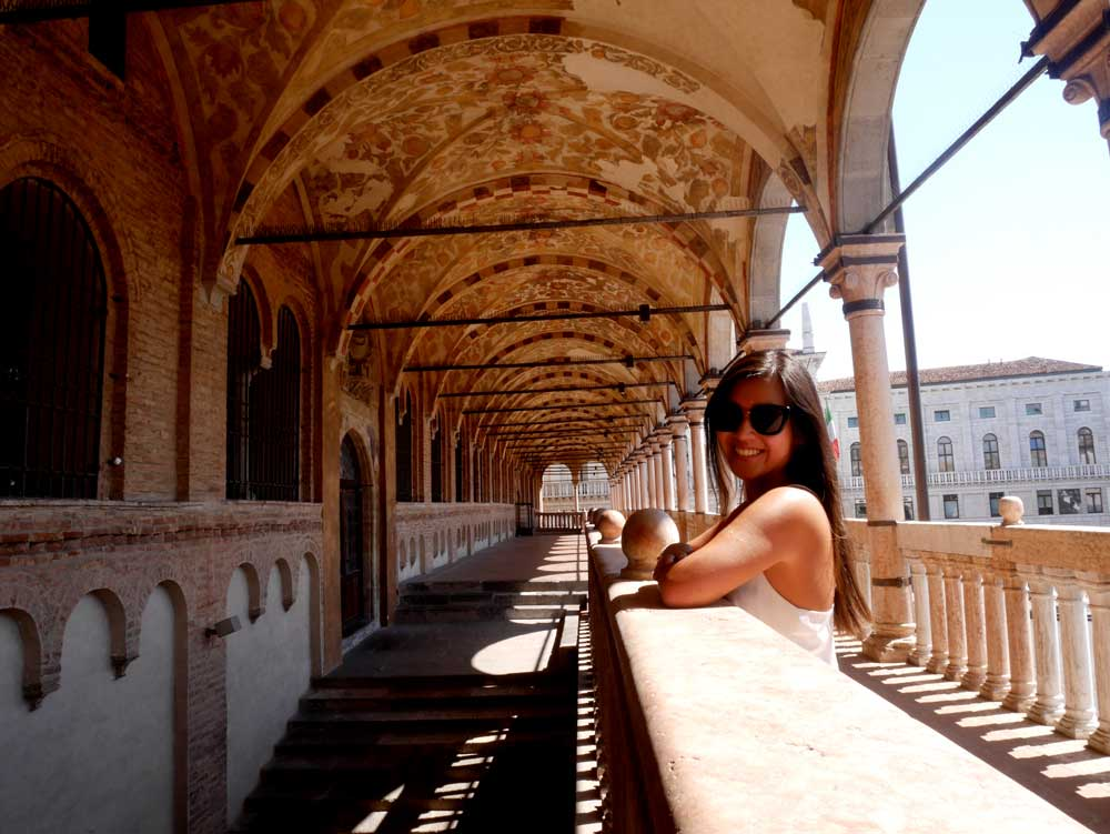 A cheeky self timer selfie in the deserted balcony of Palazzo della Ragione, Padua, Veneto, Italy | Laugh Travel Eat
