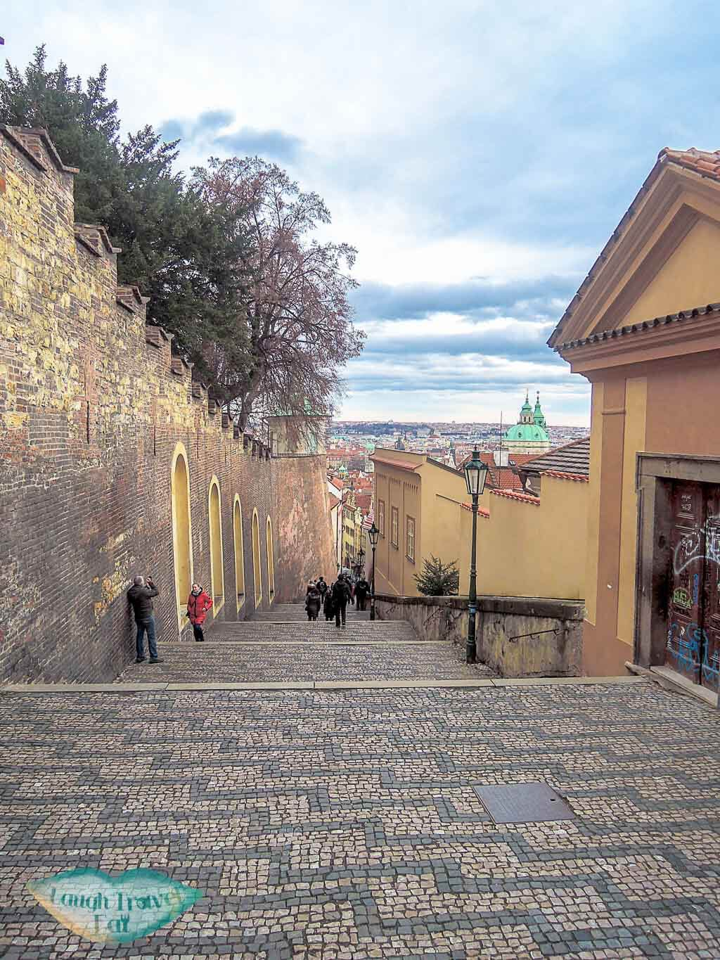 Zamecke schody - a patterned cobble stone steps that leads you back down. Prague, Czech Republic - Laugh Travel Eat
