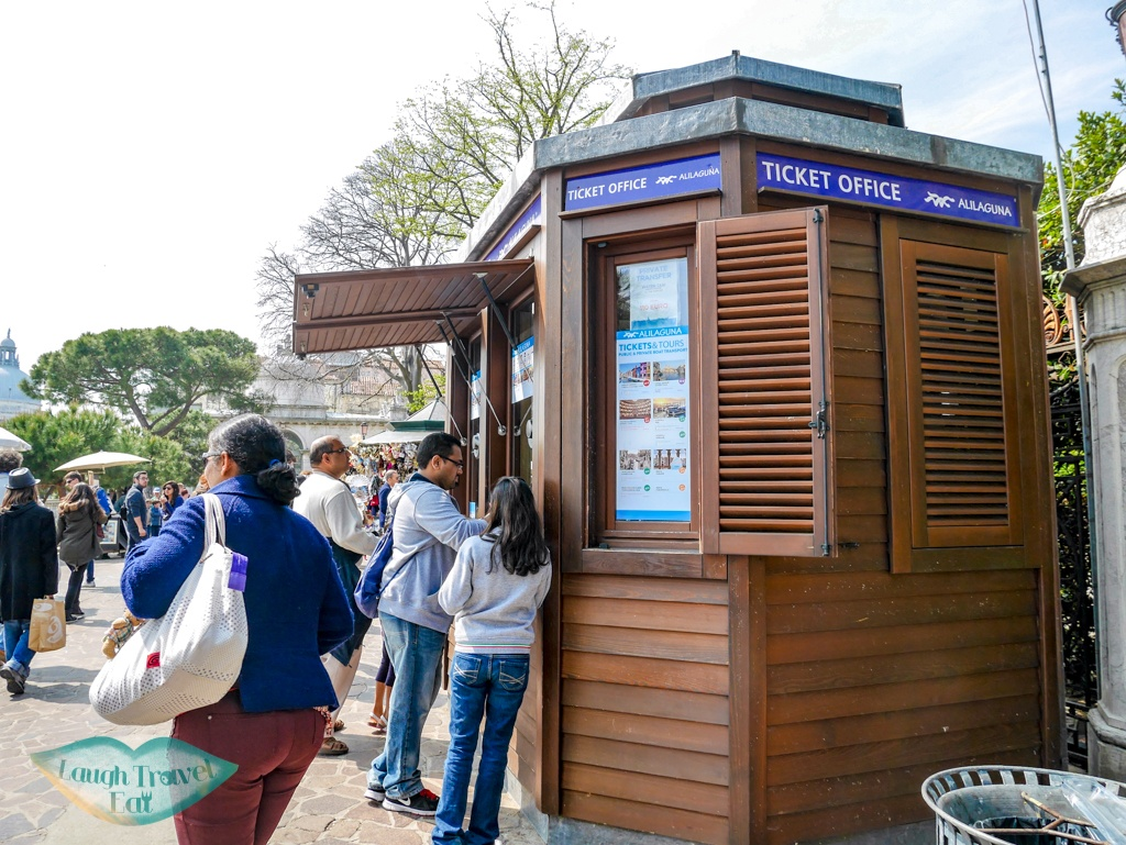 ticket booth for three island tour Venice Italy - laugh travel eat