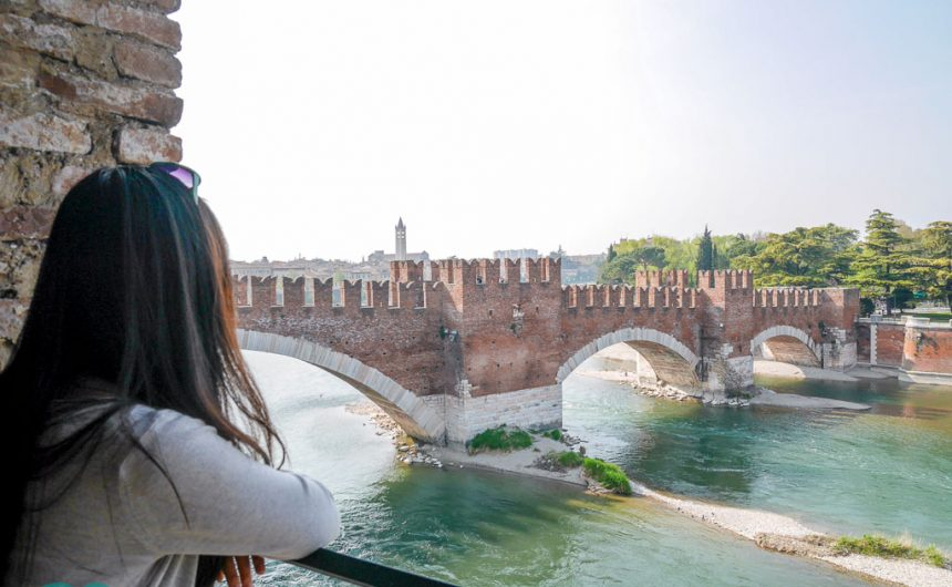 view of Ponte Castelvecchio from the castle verona italy | Laugh Travel Eat
