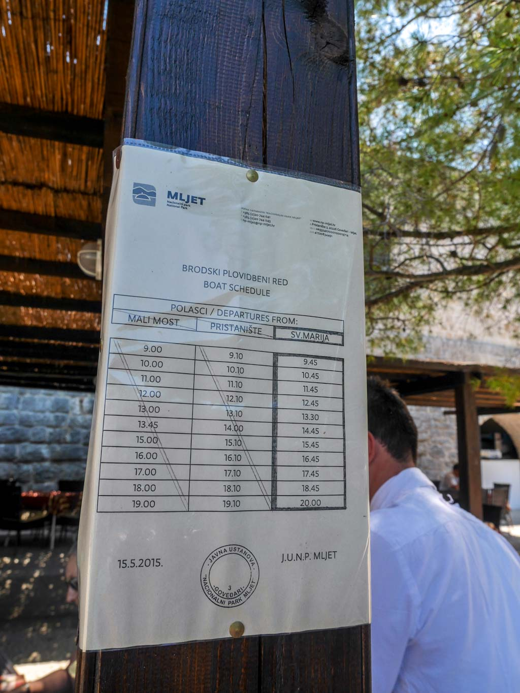 boat schedule 2015 for st mary's island and mljet national park croatia