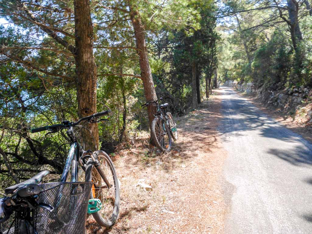 parking our bicycle mljet national park croatia