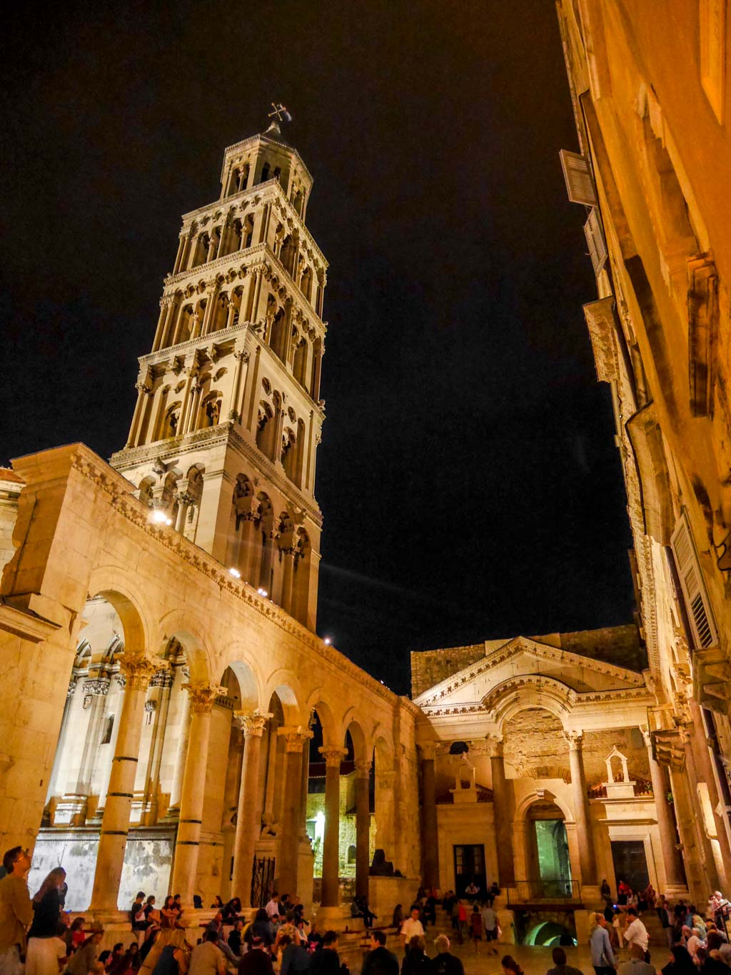 peristyle and tower in split at night diocletian's palace croatia