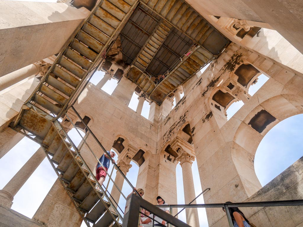 staircase up the tower of The Cathedral of St Dominus diocletians palace split croatia