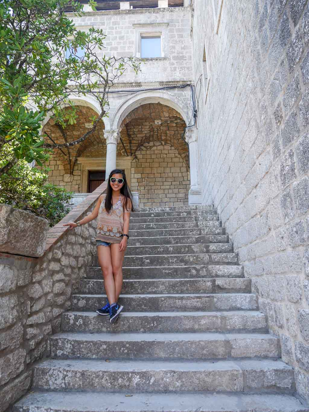 stairs up to the monastery at st mary island mljet national park croatia