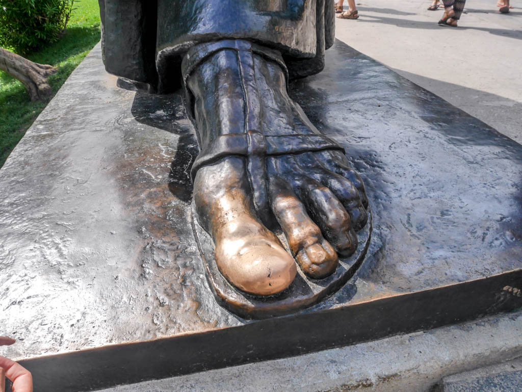 toes of Statue of Gregory of Nin split croatia