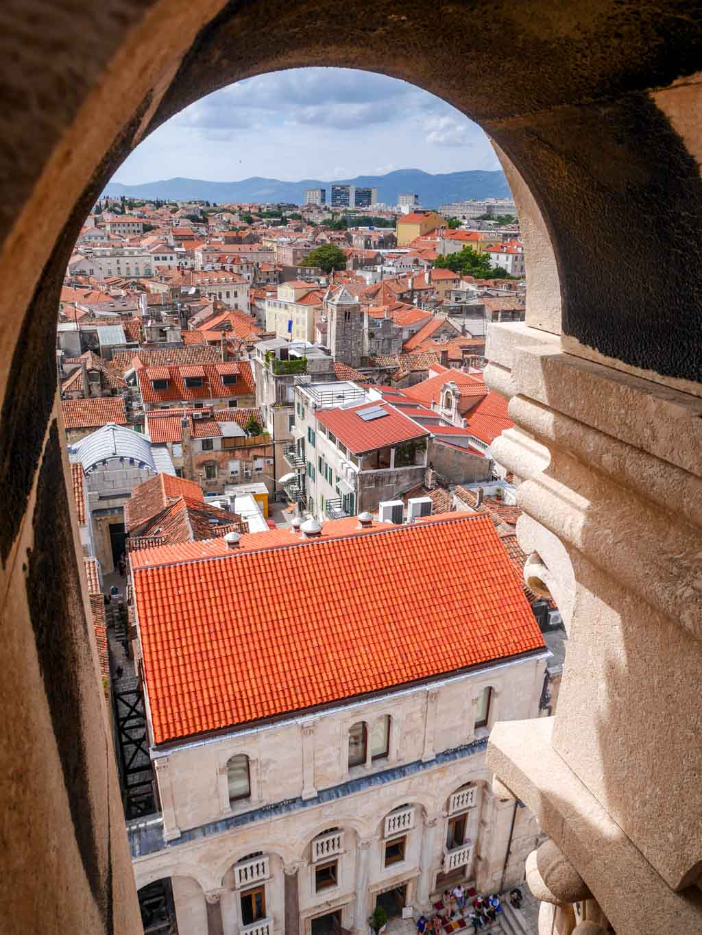 view of split from the tower of The Cathedral of St Dominus diocletians palace split croatia