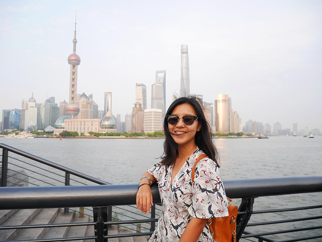 Me at the Bund, Shanghia, China | Laugh Travel Eat