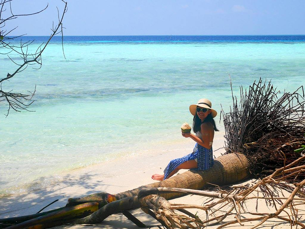 Picnic Island with me and a coconut, near Gaafaru, Maldives | Laugh Travel Eat