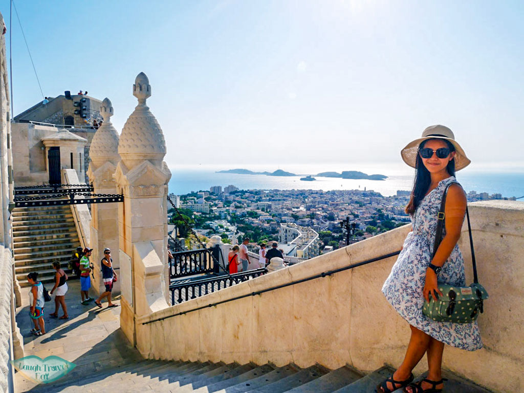 view of marseille below and me Basilique Notre-Dame de la garde Marseille France | Laugh Travel Eat