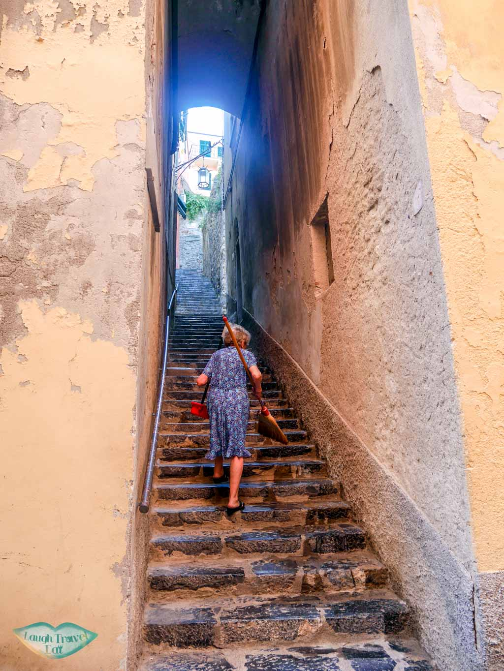 portovenere port to old town stairs liguria italy | Laugh Travel Eat