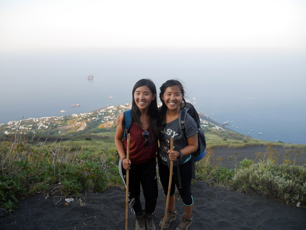 My sister and I mid-way up Stromboli during one of the rest stop| Laugh Travel Eat