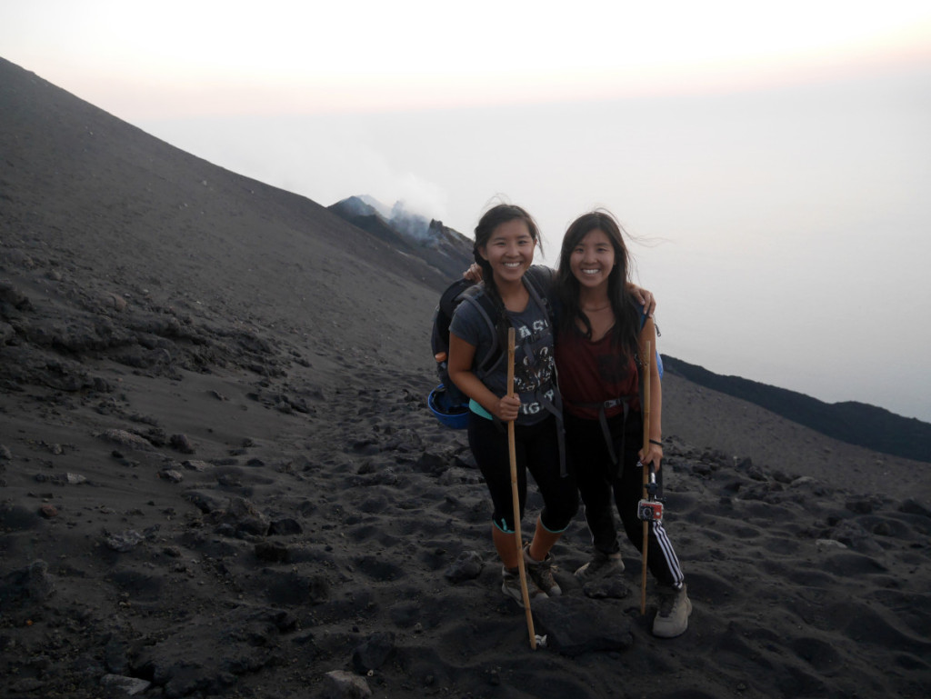 A photo taken in front of the volcanic crater in Stromboli moments before an eruption