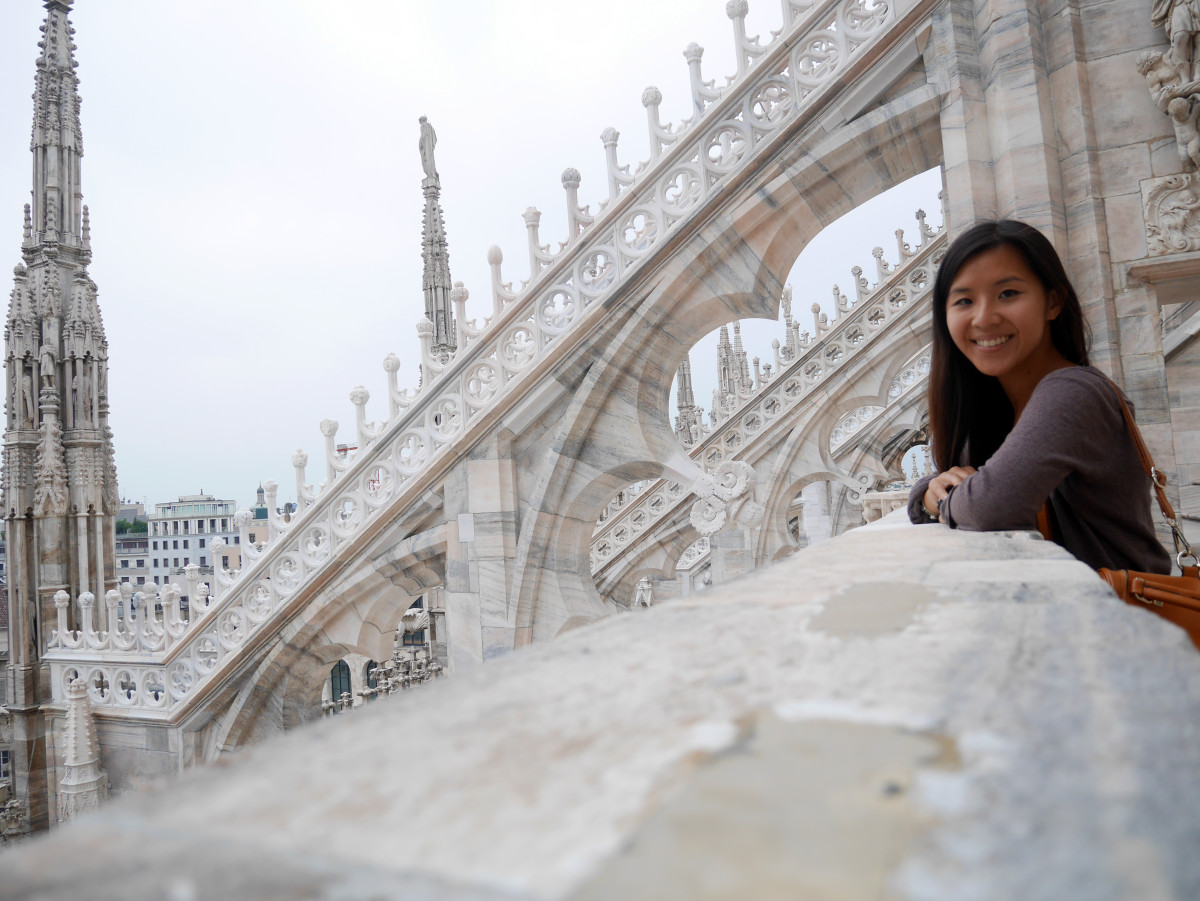 Self-timer photo of me at the magnificent Milan Cathedral, Italy| Laugh Travel Eat