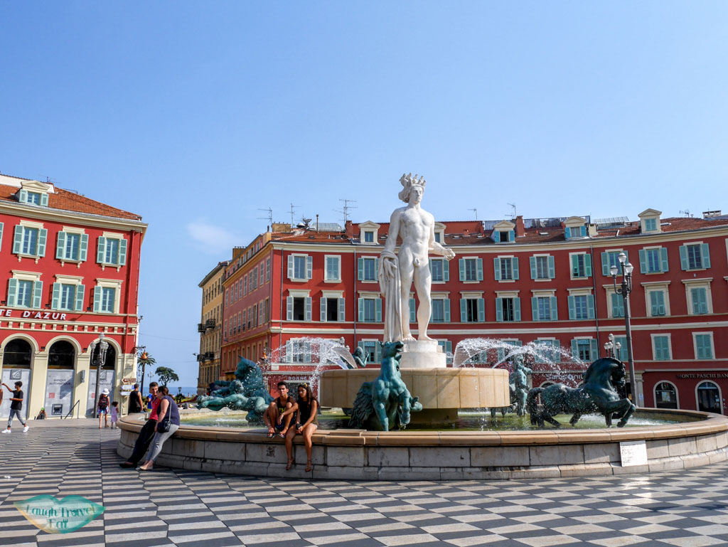 fountaine du soliel at the end of place massena nice south of france | Laugh Travel Eat