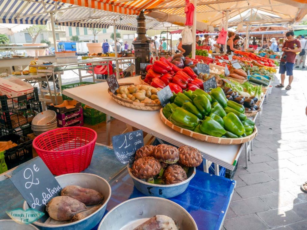 fresh produce at old town market south of france | Laugh Travel Eat