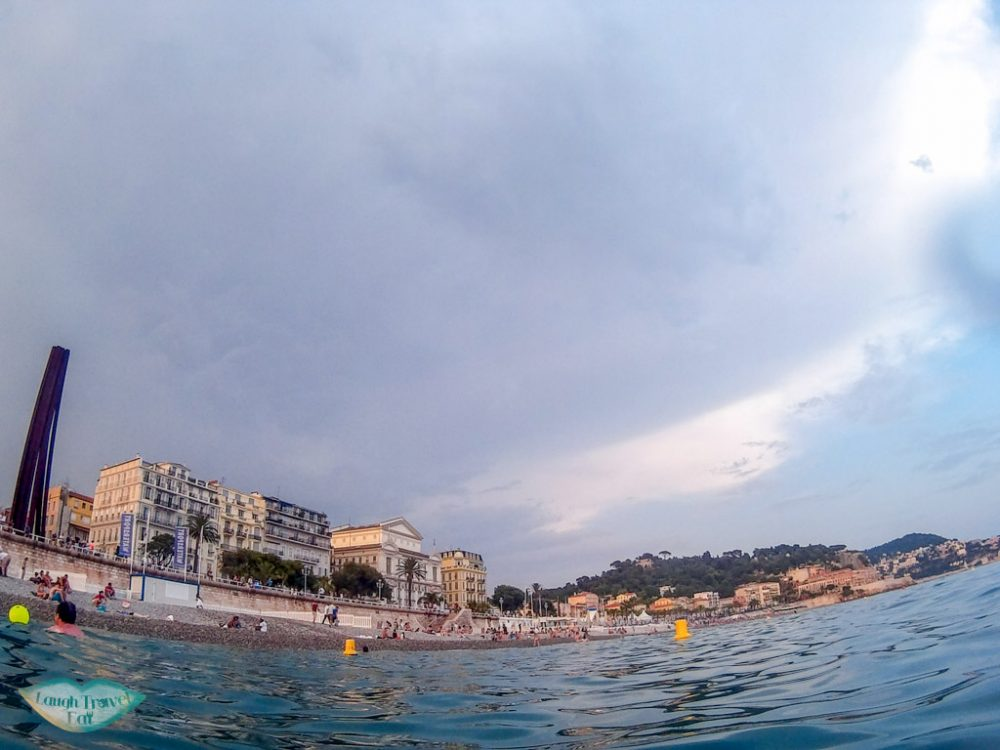 nice viewed from the sea at promenade des anglais Nice south of france | Laugh Travel Eat