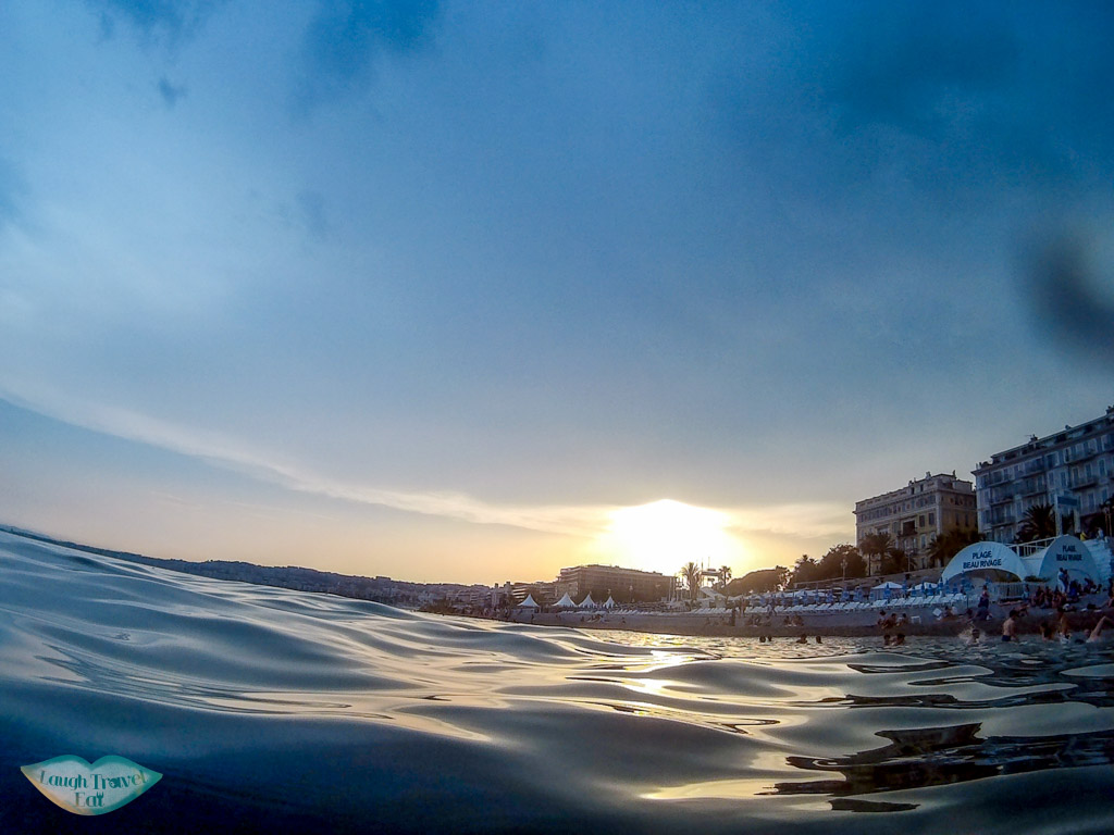 sunset in the sea at promenade des Anglais, France | Laugh Travel Eat