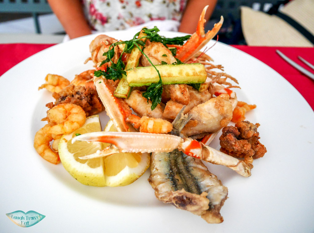 Mixed fried seafood dish at Andreas Ristorante, Taormina, Sicily | Laugh Travel Eat