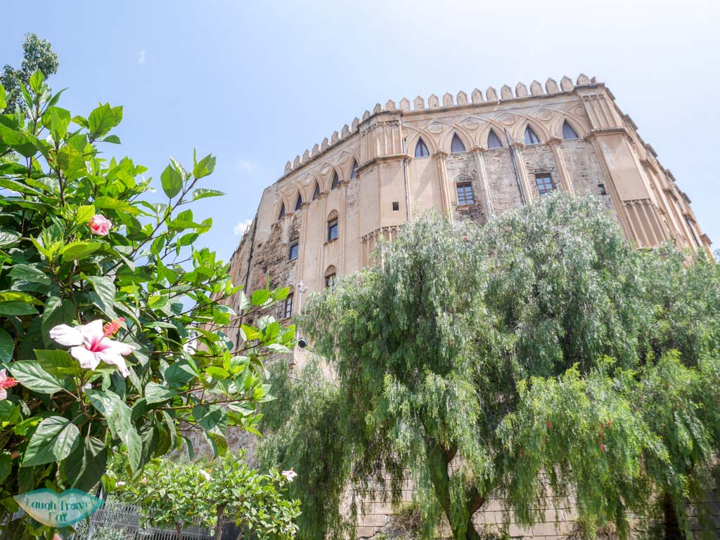 The formidable exterior of Palazzo Reale in Palermo | Laugh Travel Eat