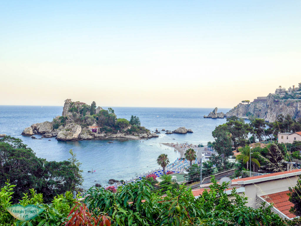 View of Isola Bella and beach at Taormina | Laugh Travel Eat