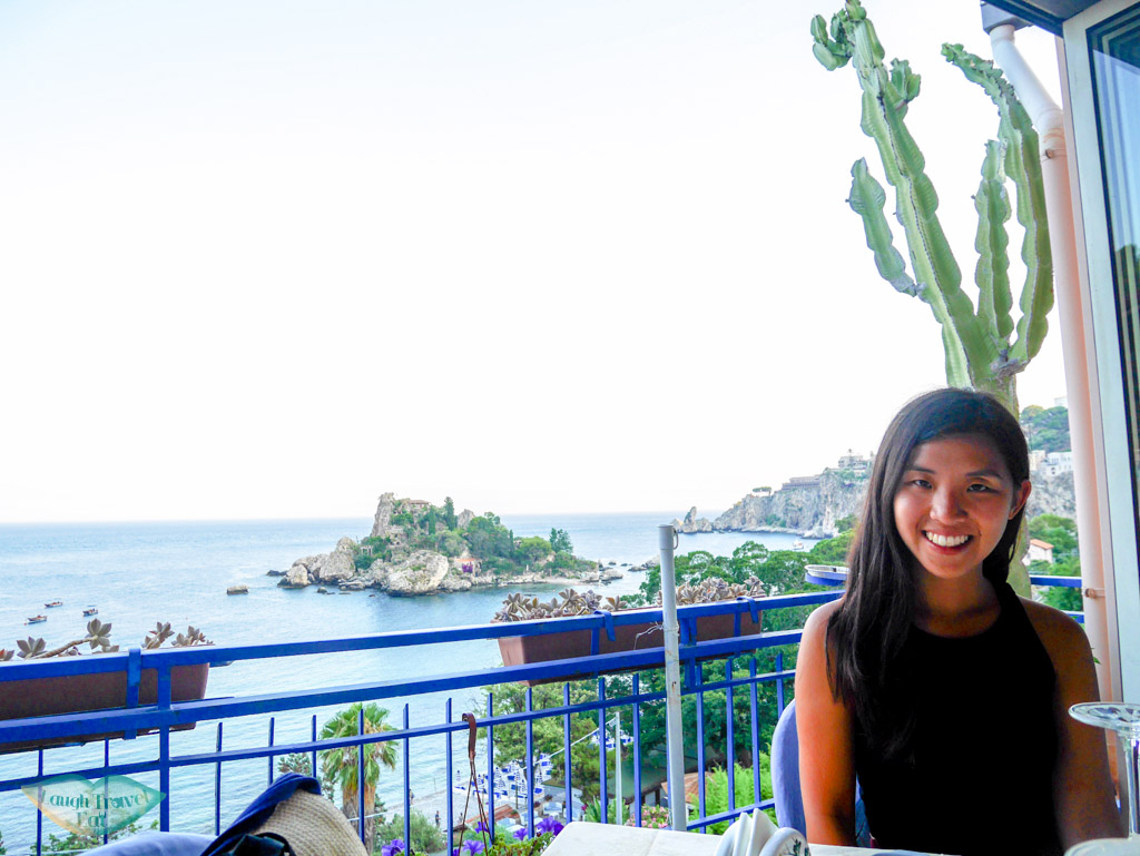 Gorgeous view of Isola Bella at the Ristorante Da Giovanni, Taormina, Sicily | Laugh Travel Eat