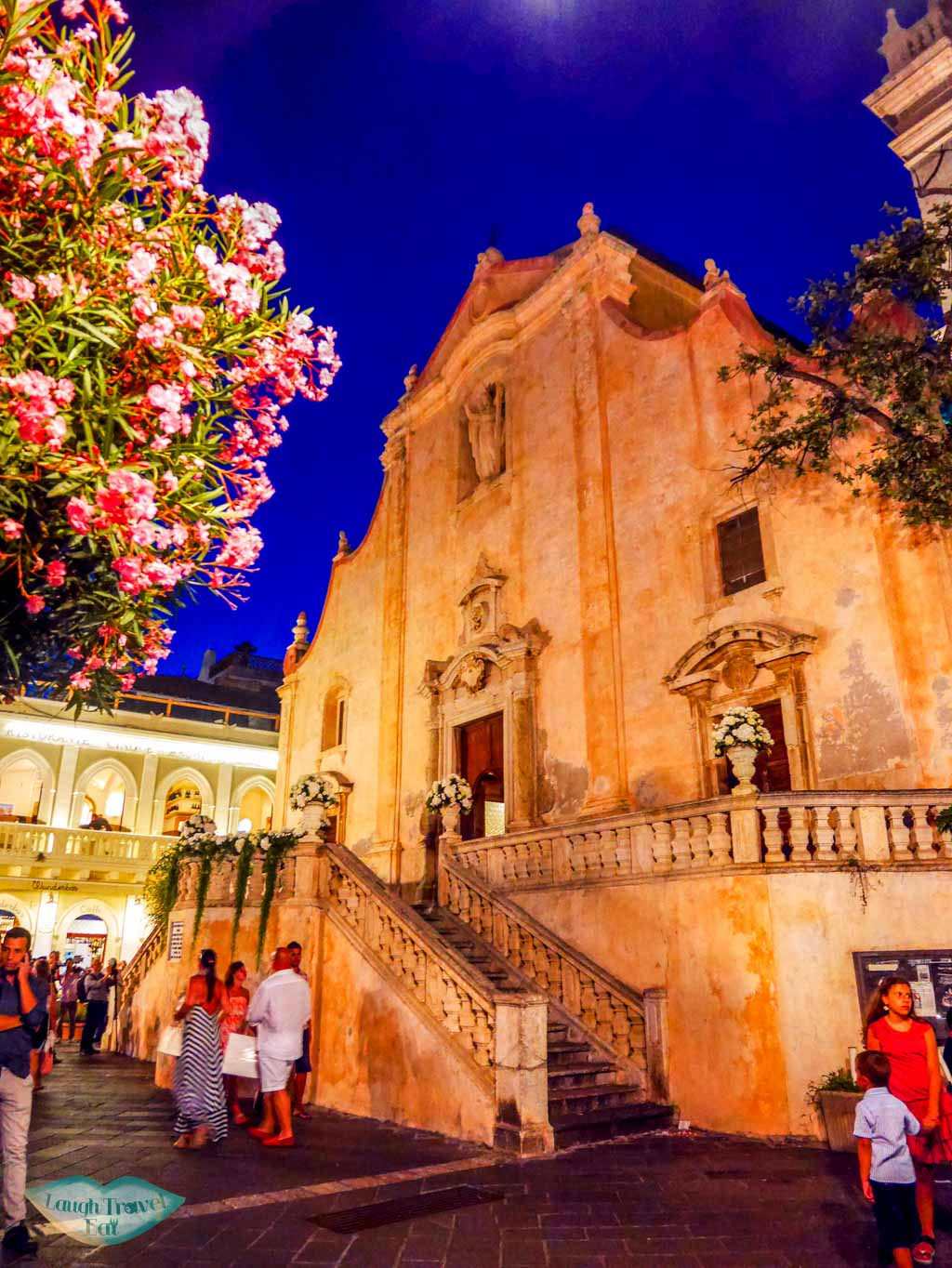 Front view of San Giuseppe Church in Taormina at night | Laugh Travel Eat