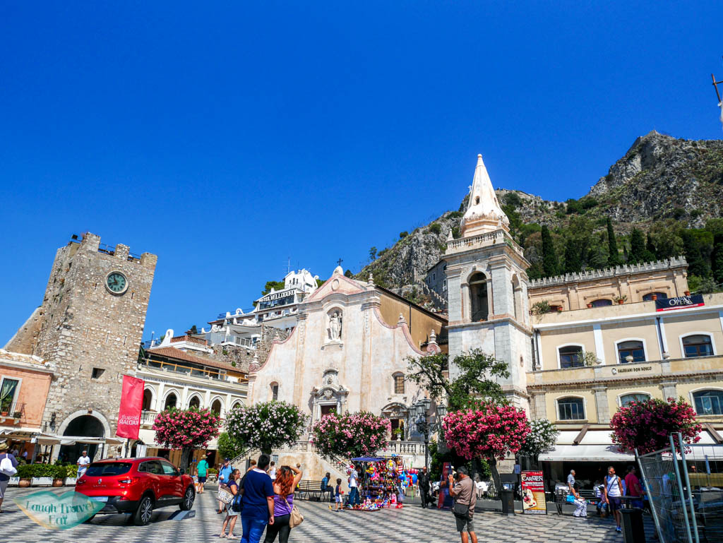 Square in front of San Guiseppe during daytime in Taormina | Laugh Travel Eat