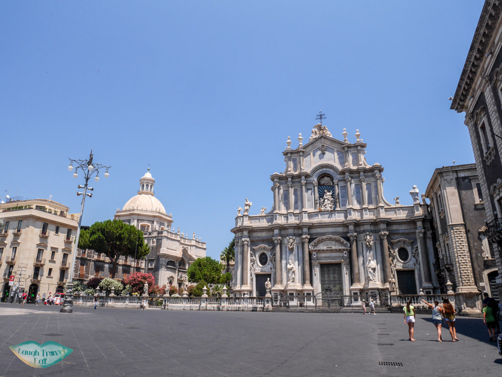 The vast Duomo square in front of Cantania's impressive Duomo | Laugh Travel Eat