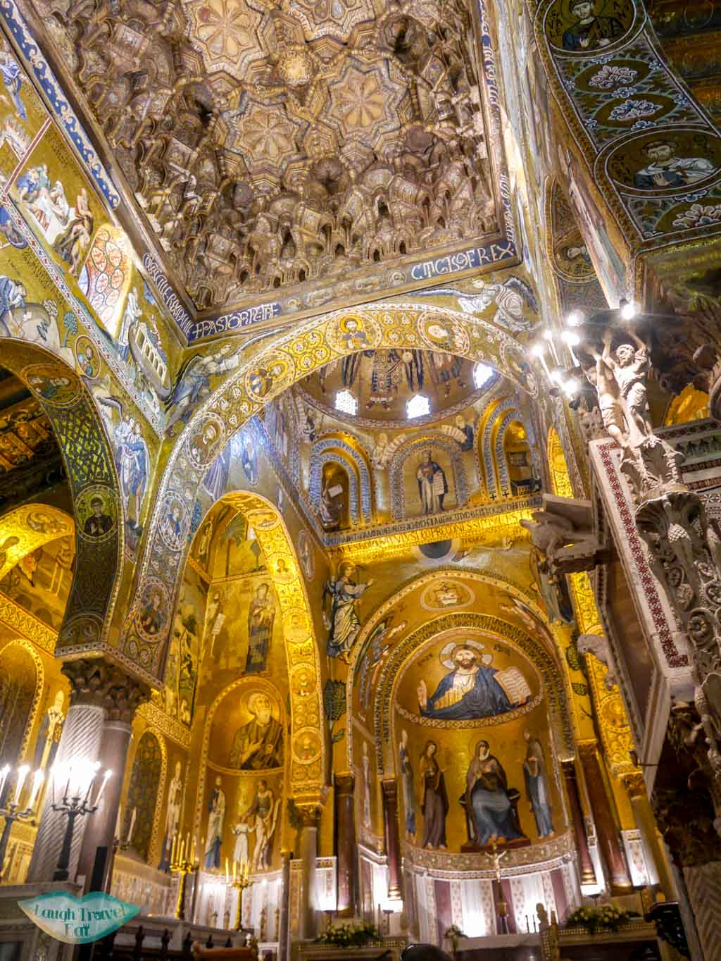 The richly decorated Chapel Palatina in Palermo, famous for its golden mosaic | Laugh Travel Eat
