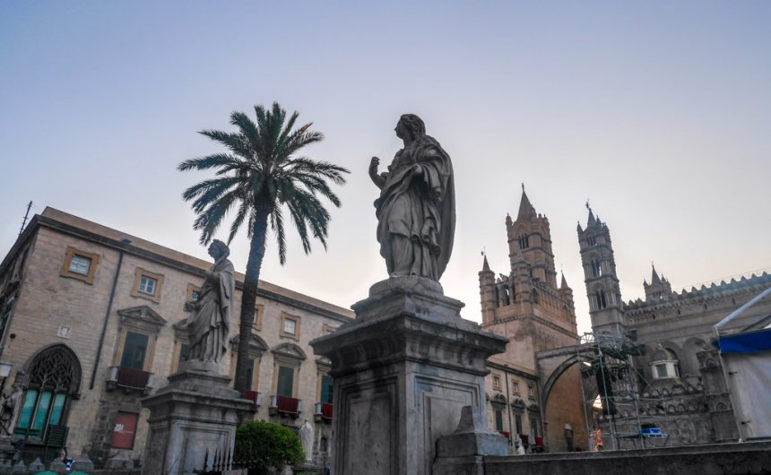 One of the many statue in front of Palermo's duomo/ cathedral, palermo, sicily, italy | Laugh Travel Eat