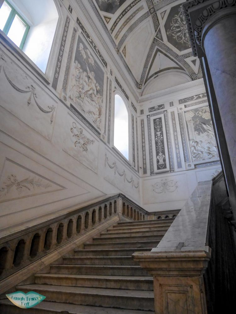 Polished, white marble staircase in the Benedictine Monastery in Catania, Sicily | Laugh Travel Eat