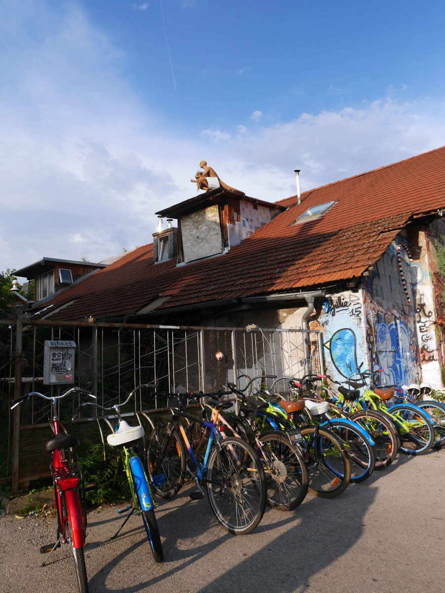 Rows-of-bikes-at-the-entrace-of-Metelkova,-Ljubljana,-Slovenia