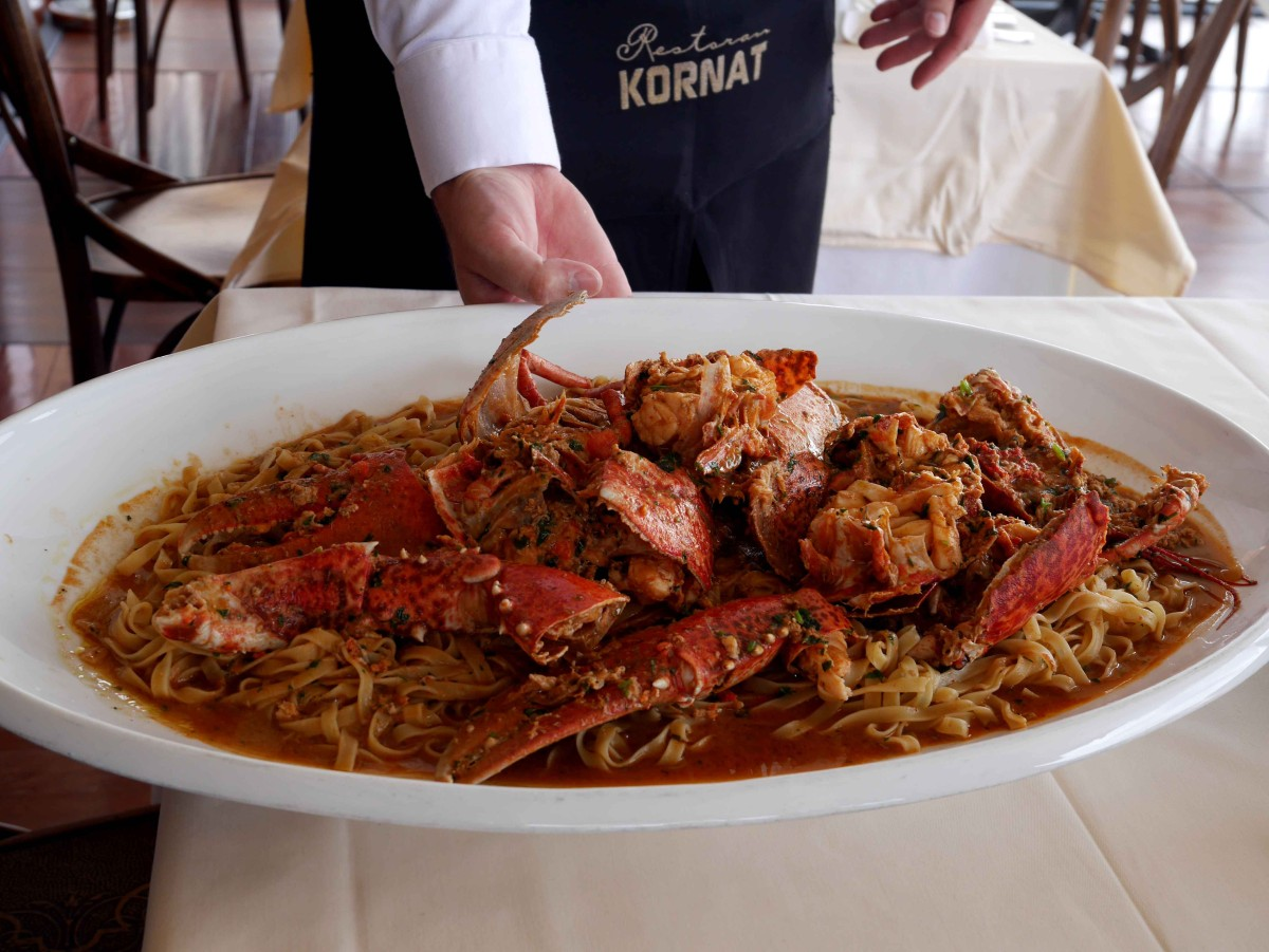 The lobster pasta at Restaurant Kornat, Zadar, Croatia