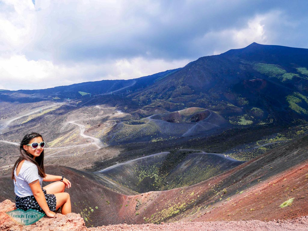 Posing on top of one of Mount Etna's crater, trying not to fall, Catania Sicily, Italy | Laugh Travel Eat