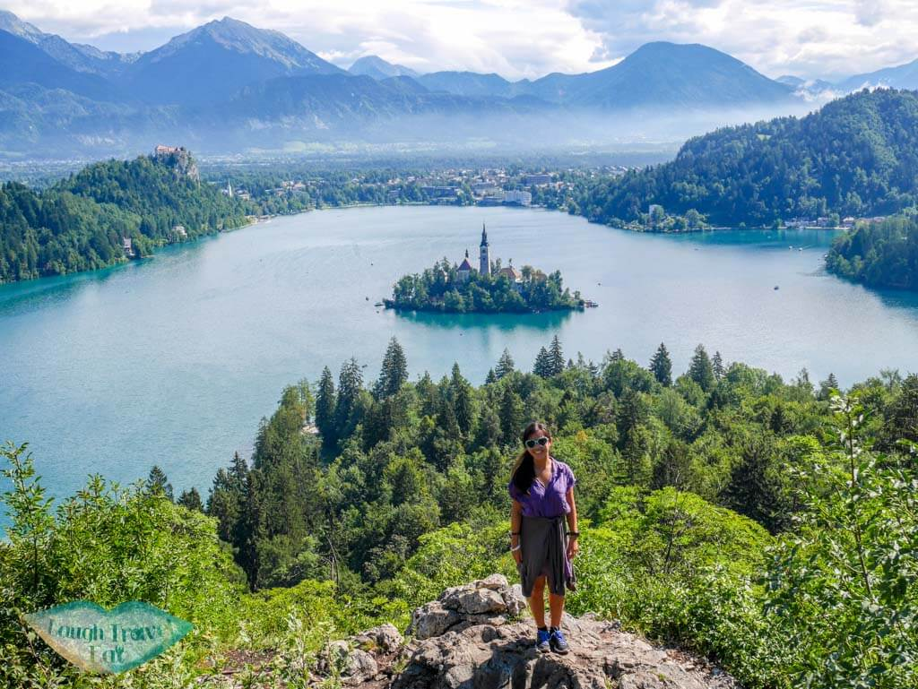 Me at the classic view point of Bled at the top of Ojstrica Hill | Laugh Travel Eat