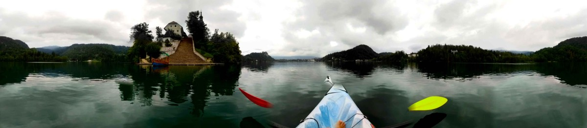 Panorama view of Lake Bled whilst kayaking | Laugh Travel Eat