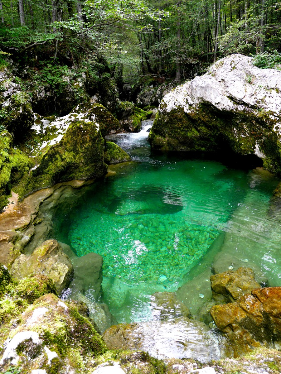 Slightly less deep part of Mostnica Gorge, with gorgeous pools and green colour water, Bohinj region, Slovenia | Laugh Travel Eat