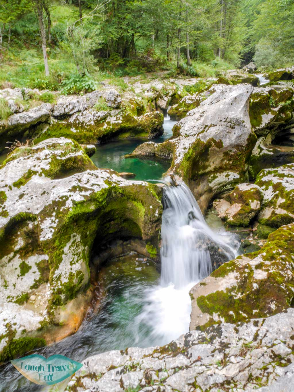 small waterfall mostnica gorge bohinj slovenia - laugh travel eat