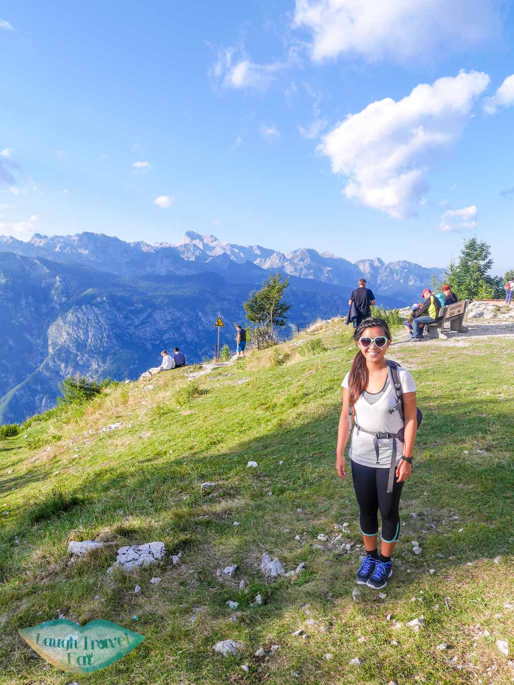 victory photo at the end of hike on mount vogel bohinj slovenia - laugh travel eat
