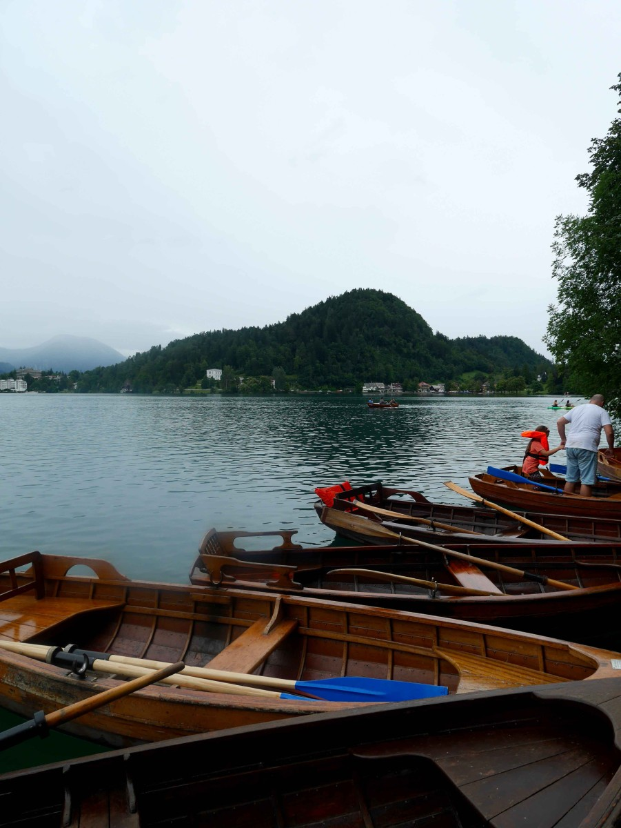 wooden-row-boats-along-the-island-in-the-middle-of-Lake-Bled,-Slovenia