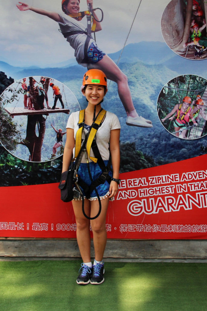Fitted for equipment and ready for zip lining at Skyline Adventure, Chiang Mai | Laugh Travel Eat