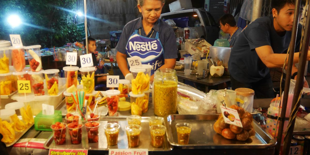 wide choice of fruit shakes at Chiang Mai's Saturday Night Market | Laugh Travel Eat