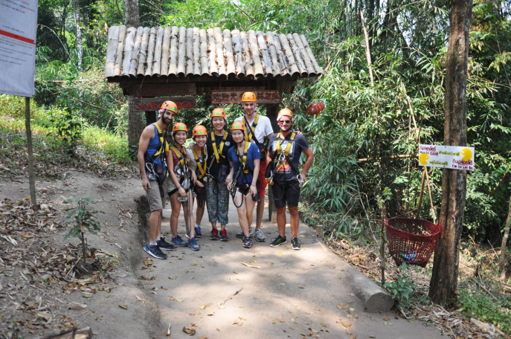 ready to start our zip lining experience with Skyline Adventure, Chiang Mai | Laugh Travel Eat