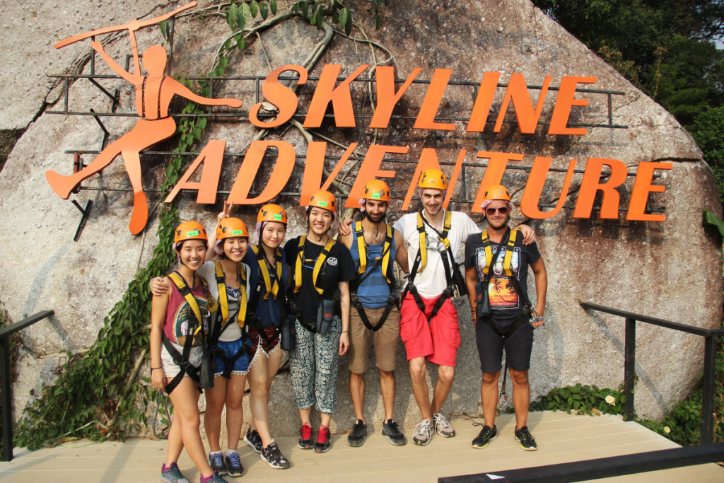 Group photo after zip lining experience with Skyline Adventure in Chiang Mai | Laugh Travel Eat