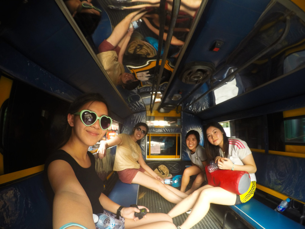 Selfie inside a big tuk tuk in Chiang Mail | Laugh Travel Eat