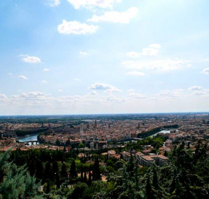 The gorgeous panorama of Verona as viewed from Santuario Nostra Signora di Lourdes, Verona, Italy | Laugh Travel Eat