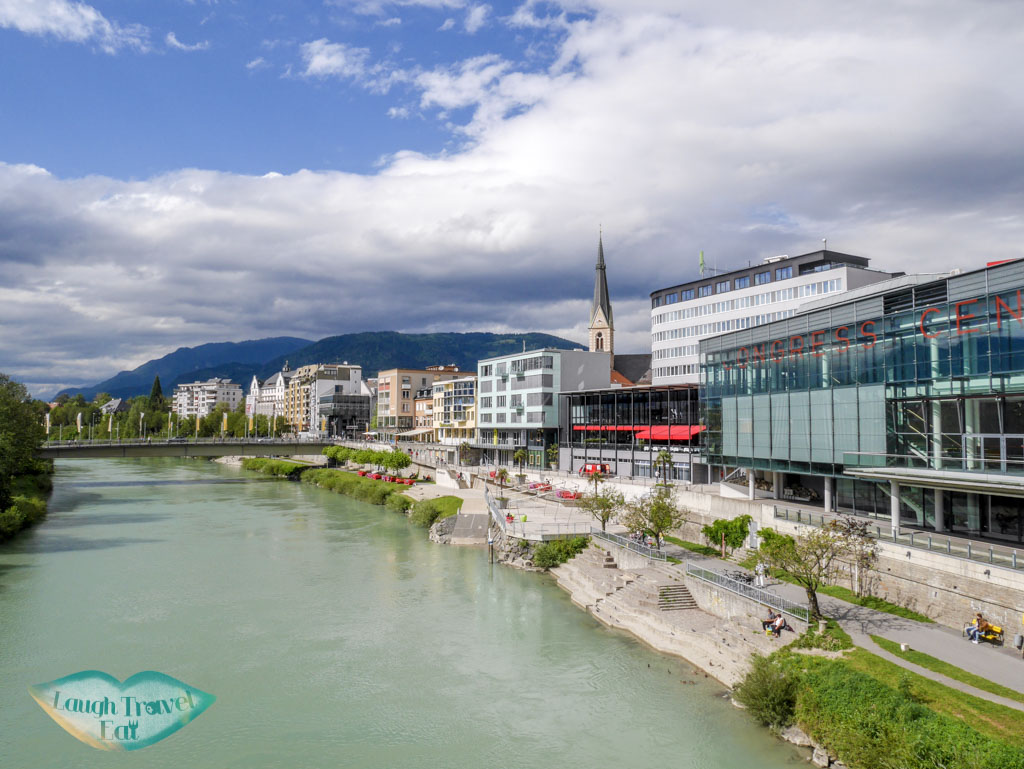 Villach-Congress-Center-view-from-bridge-over-Drava-River-Villach-Austria-Laugh-Travel-Eat