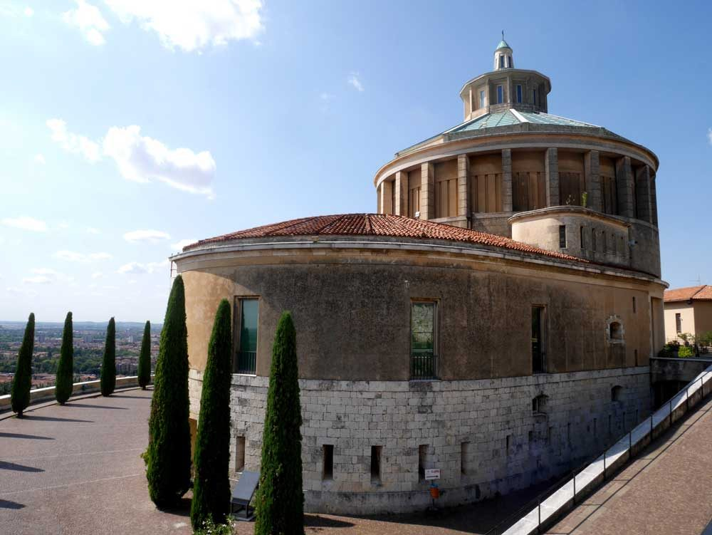Back of the Santuario Nostra Signora di Lourdes, Verona, Italy | Laugh Travel Eat